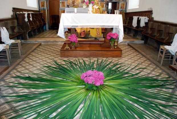 Reconstitution de la jonchée, église de Montviette